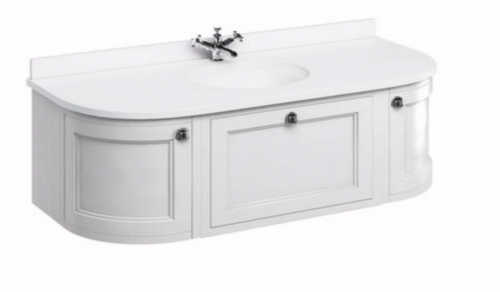 Burlington Wall Hung Matt White 134 Curved Vanity Unit With Drawers & Doors Fw4W - Worktop Options